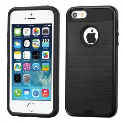 Apple iPhone 5/5s Black/Black Brushed Hybrid Case
