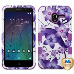 Alcatel Stellar / Tru 5065 Purple Hibiscus Flower Romance/Electric Purple Hybrid Case