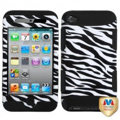 Apple iPod Touch (4th Generation) Zebra Skin/Black Hybrid Case