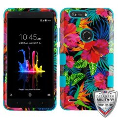 ZTE Blade Z Max / Sequoia Z982 Electric Hibiscus/Tropical Teal Hybrid Case Military Grade
