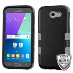 Samsung Galaxy J3 Natural Black/Iron Gray Hybrid Case Military Grade