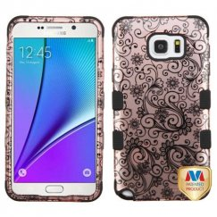 Samsung Galaxy Note 5 Black Four-Leaf Clover 2D Rose Gold/Black Hybrid Case