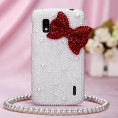 LG Nexus 4 Red Bow Pearl 3D Diamante Back Case