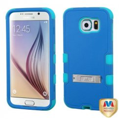 Samsung Galaxy S6 Natural Dark Blue/Tropical Teal Hybrid Case with Stand