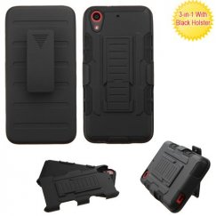 HTC Desire 555 Black/Black Advanced Armor Stand Case with Black Holster