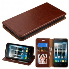 Alcatel Fierce 4 / Pop 4 Plus / Allura Brown Wallet with Tray
