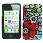 Apple iPhone 4/ 4S Full Diamond Crystal Couture Rhinestone Back Cover, Multi-Colored Flowers pattern