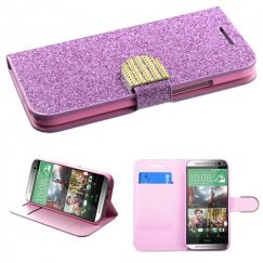 HTC One M8 Purple Glittering Wallet with Diamante Belt