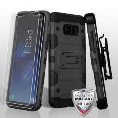 Samsung Galaxy S8 Black/Black 3-in-1 Storm Tank Hybrid Case Combo with Black Holster and Twin Screen Protectors Military Grade