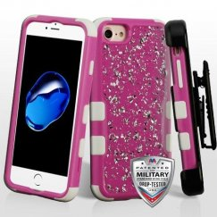Apple iPhone 8 Silver Flakes (Natural Hot Pink)/Solid White Krystal Gel Hybrid Case Military Grade with Black Horizontal Holster
