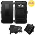 Samsung Galaxy J1 Black/Black Advanced Armor Stand Case with Black Holster