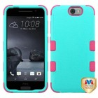 HTC One A9 Natural Teal Green/Electric Pink Hybrid Case