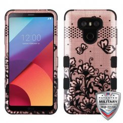LG G6 Black Lace Flowers (2D Rose Gold)/Black Hybrid Case Military Grade