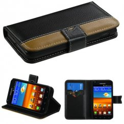 Samsung Epic 4G Touch (Galaxy S2) Black/Light Brown Book-Style Wallet with Black tray & card slot