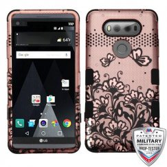 LG V20 Black Lace Flowers 2D Rose Gold/Black Hybrid Case