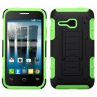 Alcatel One Touch Evolve 2 Black/Electric Green Car Armor Stand Case - Rubberized