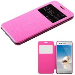 LG K8 / Phoenix 3 Electric Pink Glittering with Transparent Frosted Tray