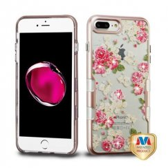 Apple iPhone 8 Plus Metallic Rose Gold/European Rose Diamante Panoview Hybrid Case
