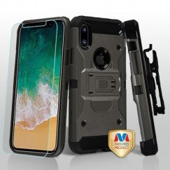 Apple iPhone X Dark Grey/Black 3-in-1 Kinetic Hybrid Case Combo with Black Holster and Tempered Glass Screen Protector