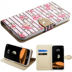 LG V9 (X Calibur) Pink Fresh Roses Diamante Wallet with Diamante Belt