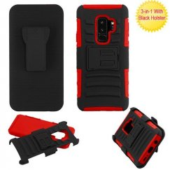Samsung Galaxy S9 Plus Black/Red Advanced Armor Stand Case with Black Holster