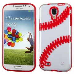 Samsung Galaxy S4 Transparent Clear/Solid Red(Baseball) Gummy Cover