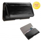 Black/Gray Genuine Leather Horizontal Pouch