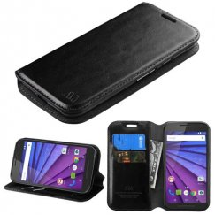 Motorola Moto G 3rd Gen Black Wallet with Tray