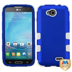 LG Optimus L90 Titanium Dark Blue/Solid White Hybrid Case
