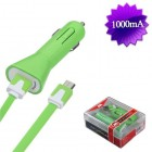 MICRO USB Green Car Charger with USB-interface noodle cable(2-in-1)