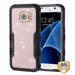 Samsung Galaxy S7 Natural Black Frame PC Back/Black Gold Rose Full Glitter Vivid Hybrid Case