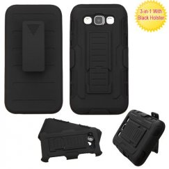 Samsung Galaxy E5 Black/Black Advanced Armor Stand Case with Black Holster