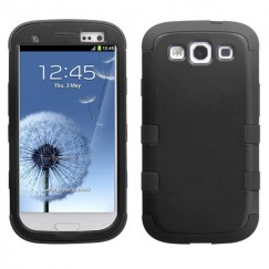 Samsung Galaxy S3 Rubberized Black/Black Hybrid Case