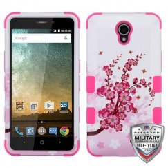 ZTE Prestige 2 Spring Flowers/Electric Pink Hybrid Case Military Grade