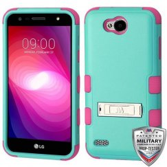 LG X Power 2 Natural Teal Green/Electric Pink Hybrid Case with Stand