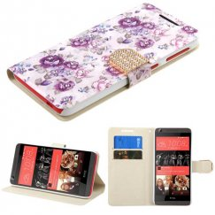 HTC Desire 555 Fresh Purple Flowers Diamante Wallet with Diamante Belt