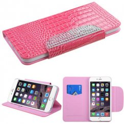 Apple iPhone 6/6s Plus Pink Crocodile Skin/Gradient Diamante Belt Wallet