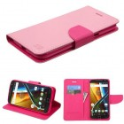 Motorola Moto G4 / Moto G4 Plus Pink Pattern/Hot Pink Liner Wallet with Card Slot