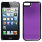 Apple iPhone 5 Luxury Satin Metal Case, Black with Purple Vertical Satin Metal Back