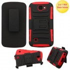 LG K3 Black/Red Advanced Armor Stand Protector Cover (With Black Holster)