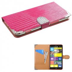 Nokia Lumia 1320 Hot Pink Crocodile Skin Wallet with Metal Diamonds Buckle & Silver Plating Tray