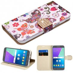 Samsung Galaxy J3 Butterfly Wonderland Diamante Wallet(with Diamante Belt)(DM106) -WP