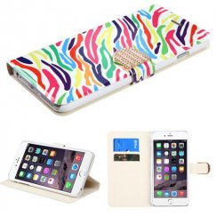 Apple iPhone 6/6s Plus Colorful Zebra Wallet with Diamante Belt
