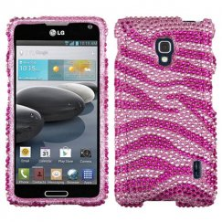 LG Optimus F6 Zebra Skin Pink/Hot Pink Diamante Case