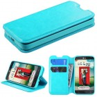 LG Optimus L70 Blue Wallet with Tray