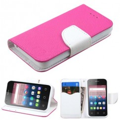 Alcatel Pixi 4 (3.5) Hot Pink Pattern/White Liner wallet with Card Slot