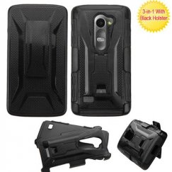 LG Leon H345 Black/Black Advanced Armor Stand Case with Black Holster