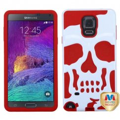 Samsung Galaxy Note 4 Ivory White/Red Skullcap Hybrid Case