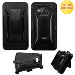Samsung Galaxy On5 Black/Black Advanced Armor Stand Case with Black Holster