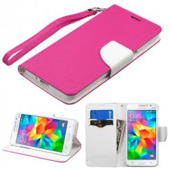 Samsung Galaxy Grand Prime Hot Pink Pattern/White Liner wallet with Lanyard